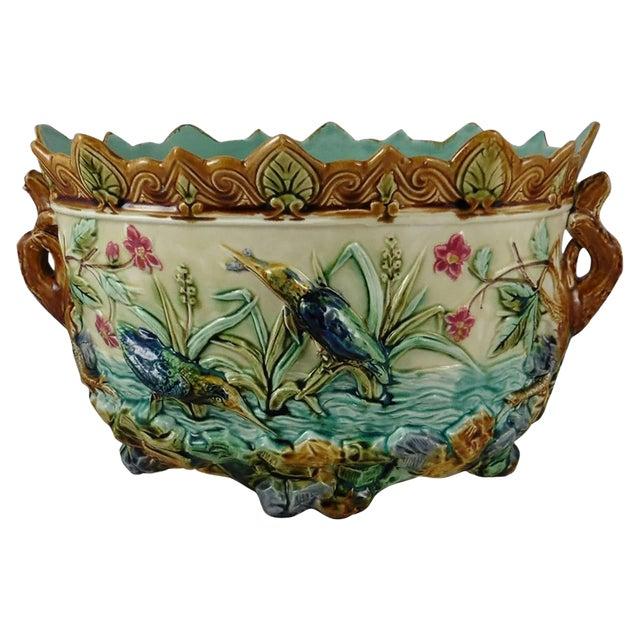 19th Century Majolica Pond W. Kingfishers Jardiniere, Onnaing For Sale