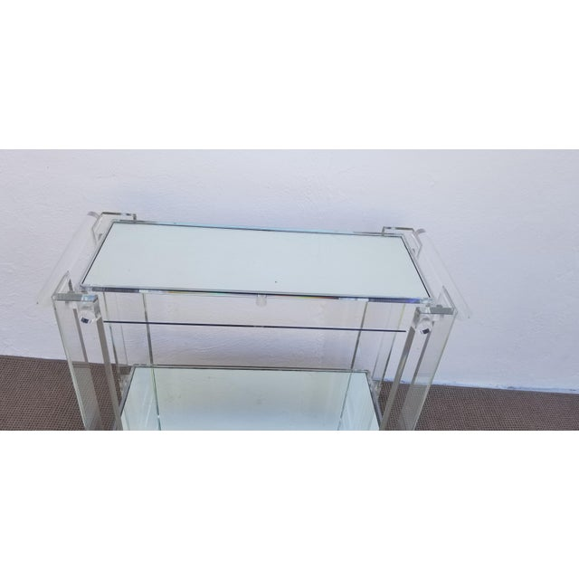 1970s Lucite Mirrored Glass Bar Cart For Sale - Image 4 of 13