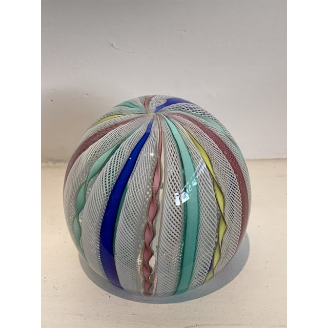 Latticino Glass Italian Paperweight For Sale - Image 9 of 11