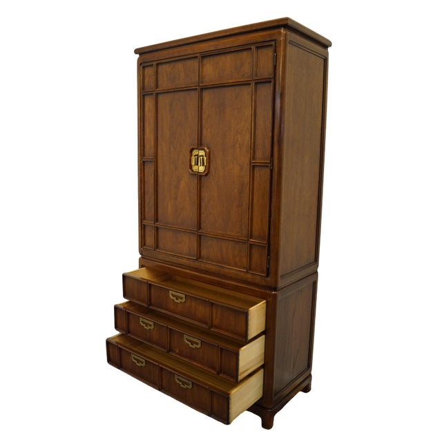 Late 20th Century Vintage Thomasville Furniture Mystique II Asian Style Armoire For Sale - Image 5 of 12