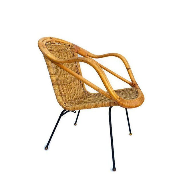 Mid Century Rattan & Sculpted Bamboo Hoop Chair Cast Iron Legs For Sale - Image 11 of 11