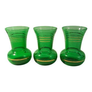 Anchor Hocking Forest Green Gold Trimmed Bud Vase, Set of 3