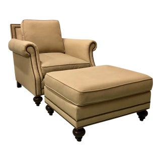 Bernhardt Club Chair & Ottoman For Sale