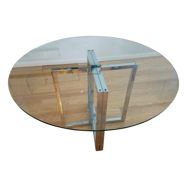 "Silverado Chrome 47"" Round Dining Table For Sale"