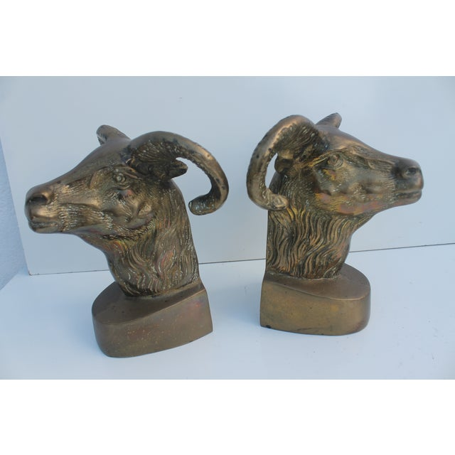 Hollywood Regency Brass Rams Head Bookends - Pair - Image 3 of 6