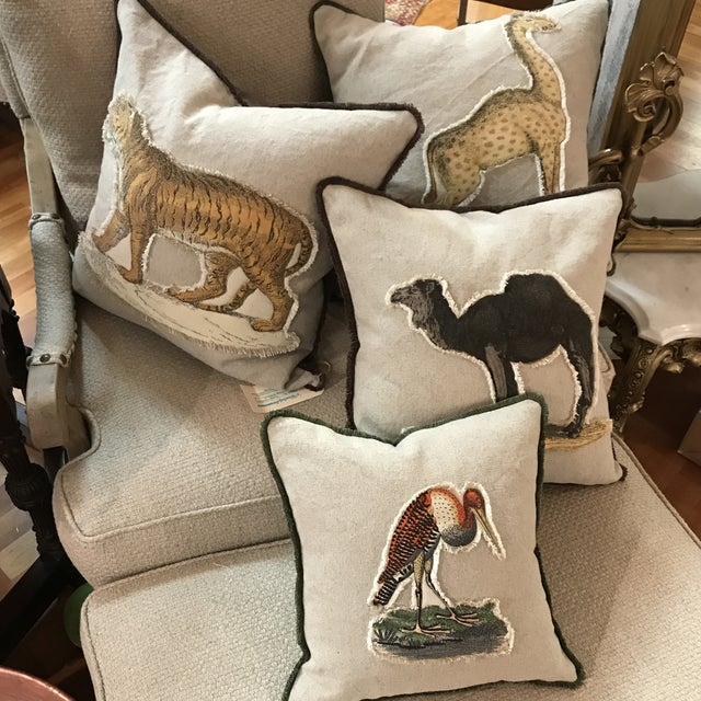 Safari Tiger Linen & Cotton Appplique Quilted Zoo Animal Design Legacy Kelly O'Neal Pillow Kid's Room For Sale - Image 6 of 7