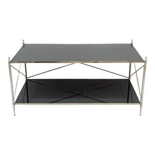 Rectangular Coffee Table With Black Mirrored Top For Sale