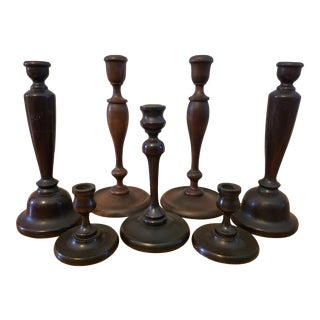 1970s Americana Collection of Wooden Candleholders - Set of 7 For Sale