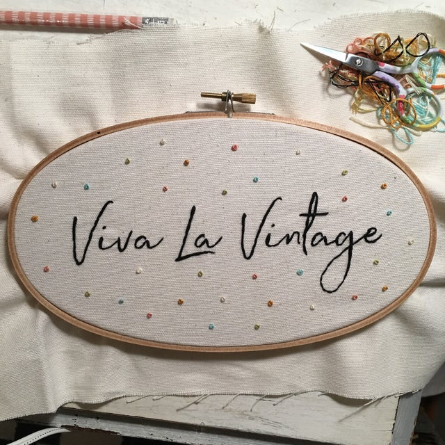 """Viva La Vintage"" Embroidered Artwork For Sale - Image 4 of 4"