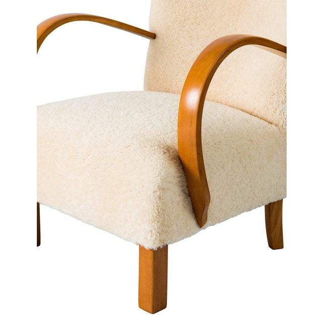 Cream Pair of Scandinavian Sheepskin Lounge Chairs For Sale - Image 8 of 9