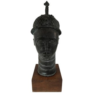 African Bronze Head Sculpture of King Oba For Sale