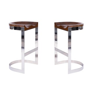 1970s Warren Bacon Chrome and Oak Barstools - a Pair For Sale