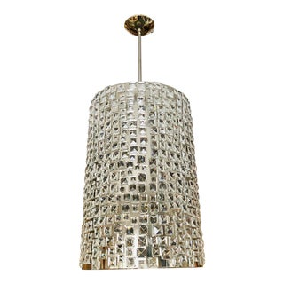 Crystal and Chrome Cylindrical Chandelier For Sale