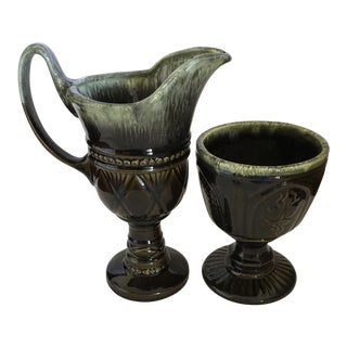 Hull Pottery Brown and Green Glazed Chalice and Footed Pitcher - a Pair For Sale