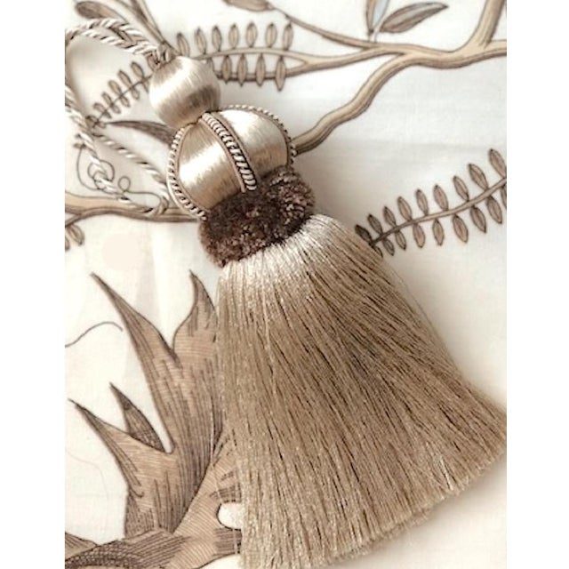 Textile Taupe Key Tassel With Cut Velvet Ruche For Sale - Image 7 of 10