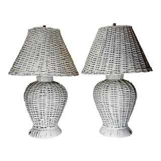 20th Century Cottage Style Wicker Lamps - a Pair For Sale