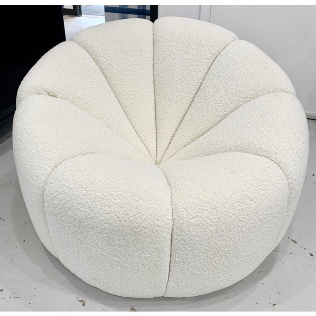 Off White Boucle Modern Channeled Chair For Sale - Image 4 of 4
