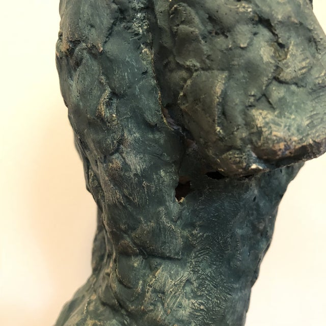 Turquoise Mid-Century Verdigris Nude Bust Sculpture For Sale - Image 8 of 11