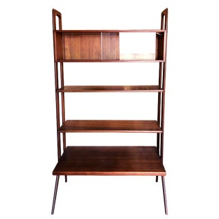 Kurt Ostervig Freestanding Danish Modern Teak Bookshelf With Glass Case For Sale