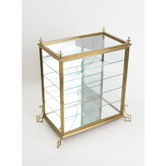Mid-Century Modern Italian Brass and Glass Display Cabinet For Sale - Image 3 of 11