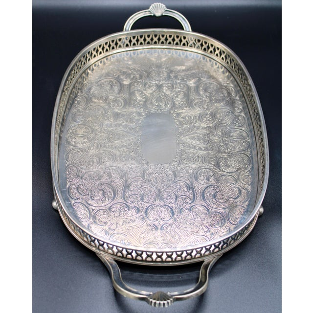 Art Deco English Silver Plate Handled Tray With Gallery For Sale - Image 10 of 13
