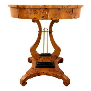 Empire Style Birdseye Maple Veneer Lyre Shaped Side Table For Sale