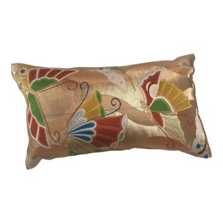 Vintage Japanese Obi Silk Embroidered Butterfly Pillow For Sale