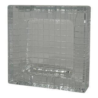 Vintage Glass Grid Ashtray/Catchall For Sale