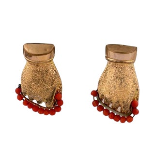 """Victorian Gold Filled and Coral """"Hand"""" Earrings For Sale"""