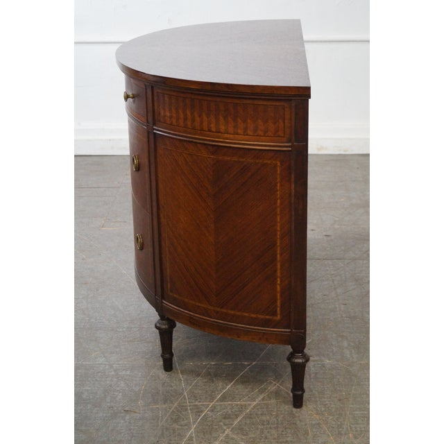 Antique 1920s Demilune Inlaid Walnut Louis XVI Style Chest of Drawers - Image 3 of 10