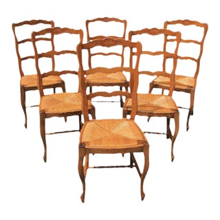 French Country Rush Seat Solid Walnut Dining Chairs - Set of 6