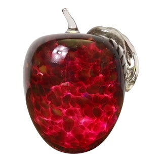 Solid Hand Blown Red Spotted Glass Apple Paperweight by Artist Mike Zelenka For Sale