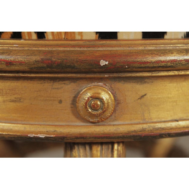 20th Century Charles X Style Giltwood Leopard Upholstered Stool For Sale In Philadelphia - Image 6 of 8