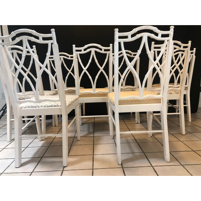 Mid 20th Century Vintage Thomasville Faux Bamboo Chinoiserie Hollywood Regency Chairs - Set of 8 For Sale - Image 5 of 7