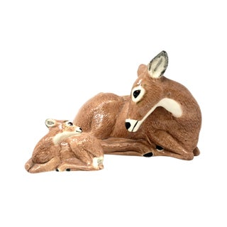 Vintage Deer Figurine Ceramic Doe Planter With Fawn - 2 Piece Set For Sale