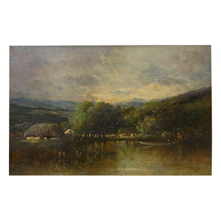 """Cottage on a Lake"" Barbizon Oil Painting by Victor Dupré Circa 1850 For Sale"