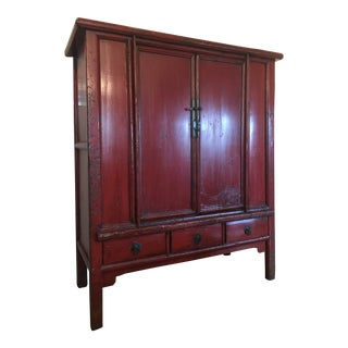 Early 19th Century Antique Chinese Red Lacquered Cabinet For Sale