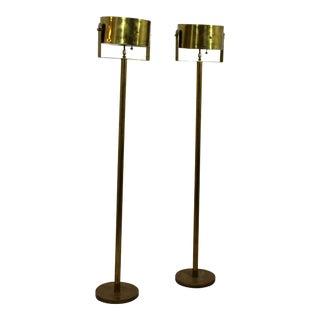 1970s Mid-Century Modern Brass Standing Floor Lamps - a Pair