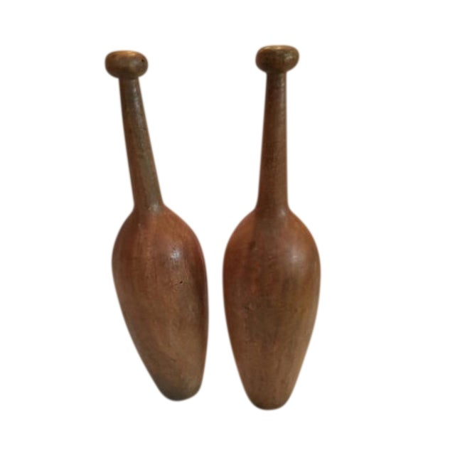 Extra Large Wooden Indian Clubs - A Pair For Sale