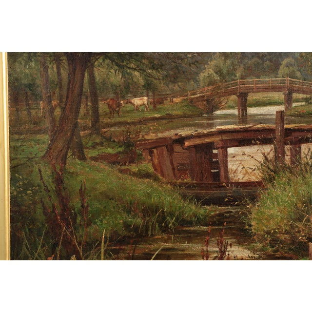 19th Century Landscape Painting of Bridges over Stream by Clarence Roe - Image 4 of 10
