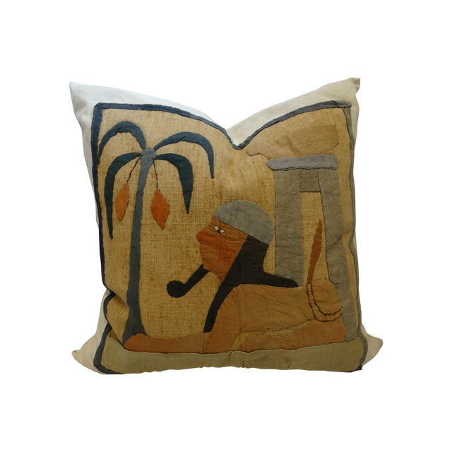 Antique Egyptian Applique Pillow - Image 1 of 3
