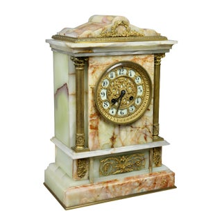 French Onyx and Bronze Mantle Clock Retailed by Bailey Banks & Biddle For Sale