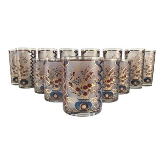 Mid-Century Modern Regency Culver Blue Red 22k Gold Rocks Highball Glasses - Set of 14 For Sale