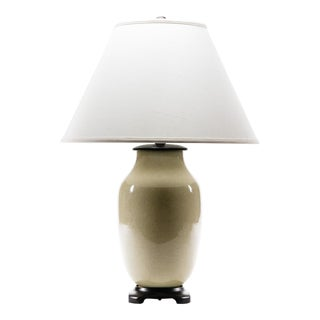 Lawrence & Scott Hand Spun Porcelain Dun Lang Table Lamp With Hongmu Stand For Sale