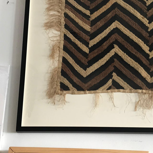 Late 20th Century Antique African Zig Zag Pattern Kuba Cloth Tapestry For Sale - Image 5 of 6