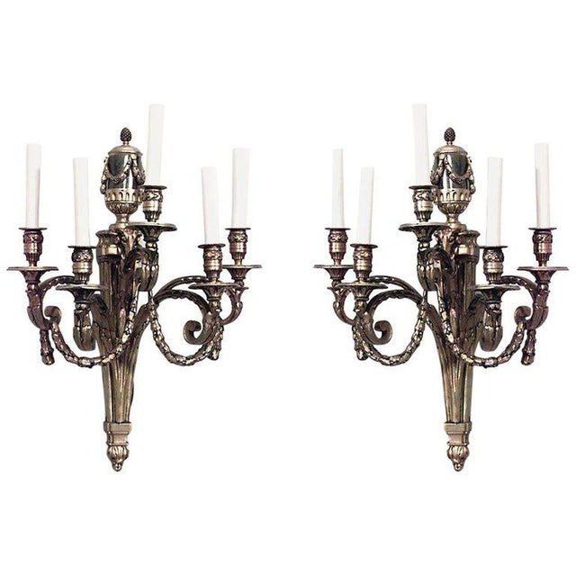 Late 19th Century Louis XVI Style 19th-20th Century Bronze Doré Five-Arm Wall Sconces - a Pair For Sale - Image 5 of 5