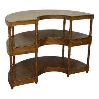 Baker Demilune Walnut Wine Tasting Server Bar Cart