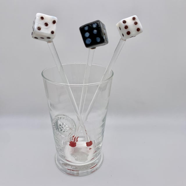 *Glass not included - for show only. Vintage dice glass drink stirrers - 2 white and one black with red glass balls at the...