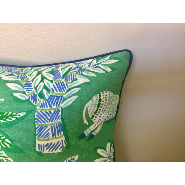 Not Yet Made - Made To Order Thibaut Goa in Green Designer Pillow Cover With Marine Blue Linen Piping For Sale - Image 5 of 6