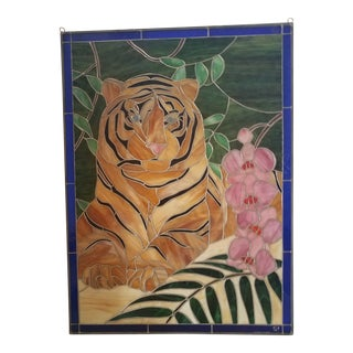 Tiger Stained Art Glass Panel For Sale